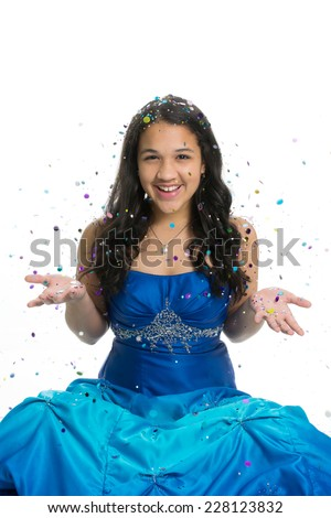 Teenage girl in prom dress with glitter - stock photo