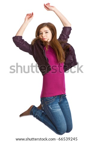 Teenage girl is jumping. Isolated on white background - stock photo