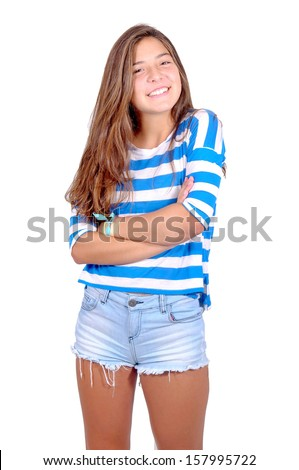 teenage girl isolated in white - stock photo