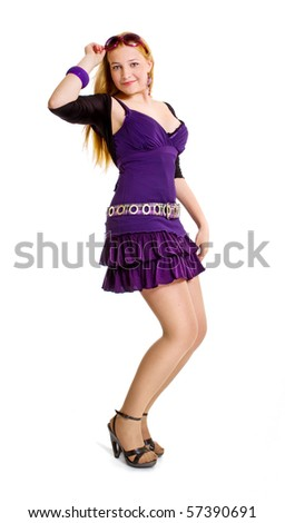 teenage girl isolated on white background - stock photo