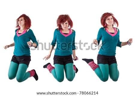 teenage girl jumping of happiness isolated on white - stock photo