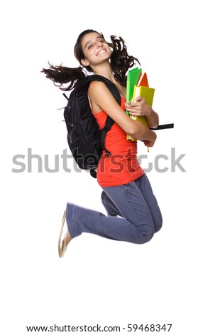 teenage girl jumping with books in her hand isolated on white - stock photo