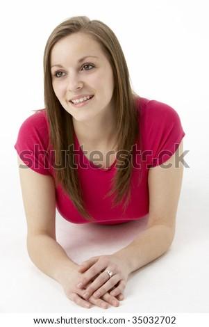 Teenage Girl Laying On Stomach - stock photo