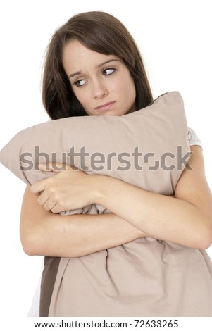 Teenage girl looking worried- isolated on white - stock photo