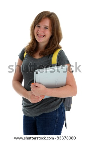Teenage Girl Ready for School on White Background