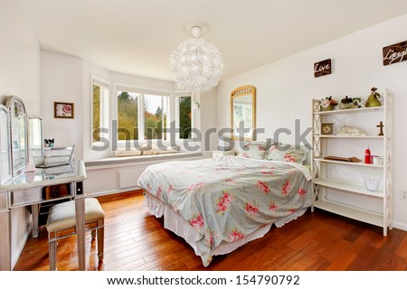 TEENAGE GIRL WHITE BEDROOM interior. - stock photo