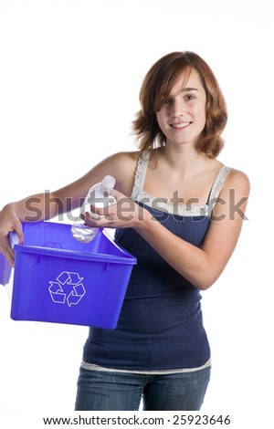 Teenage girl with a blue recycling basket