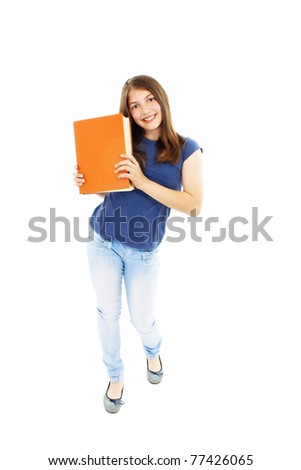 Teenage girl with a book on a white background - stock photo