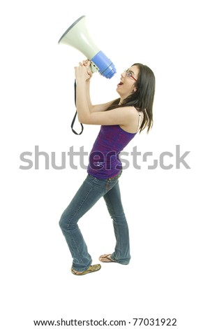 Teenage girl with glasses shouts out so people can hear her - stock photo