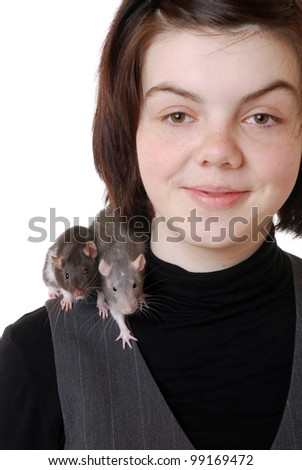 teenage girl with pet rats