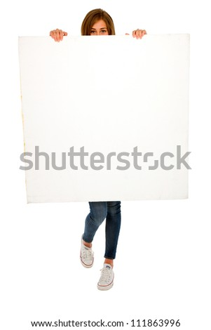 teenage girl with white panel - stock photo
