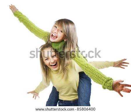 Teenage Girls Having Fun.Friends.Emotions - stock photo