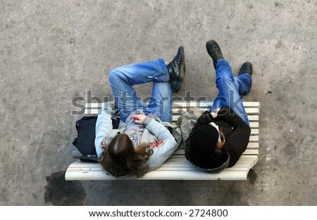 Teenage girls talking - stock photo