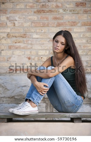 Teenage girls with problems - stock photo