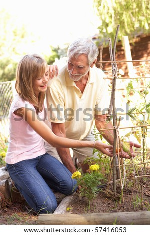 Teenage Granddaughter And Grandfather Relaxing In Garden - stock photo