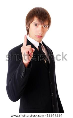 teenage man is warning. Isolated at white background. - stock photo