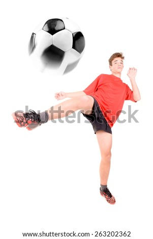 teenage soccer player isolated in white - stock photo