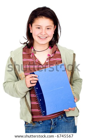 teenage student carrying notebooks over a white background