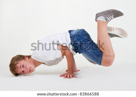 Teenager bboy training on white background