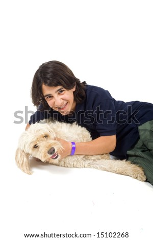 teenager boy and dog isolated on white - stock photo