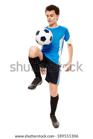 Teenager boy soccer player isolated on white background - stock photo