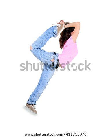 Teenager dance breakdance in action over white - stock photo