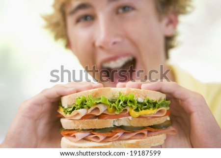Teenager Eating A Sandwich