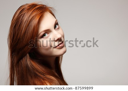teenager girl beautiful red hair cheerful enjoying - stock photo
