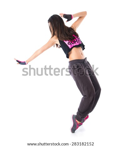 Teenager girl dancing street dance style - stock photo