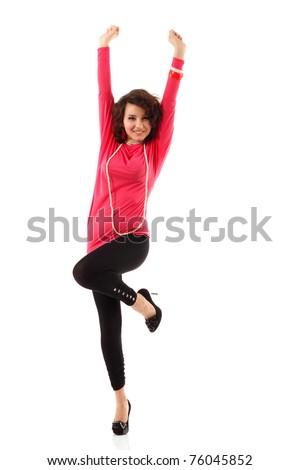 teenager girl happy full length isolated on white background - stock photo