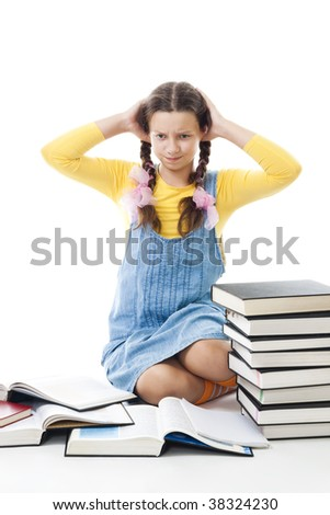 Teenager girl have problems in education hold head with hands,isolated on white - stock photo