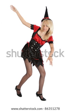 teenager girl in Halloween witch falls - stock photo