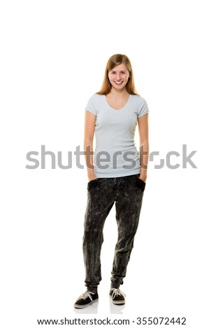 Teenager girl posing on white background. - stock photo