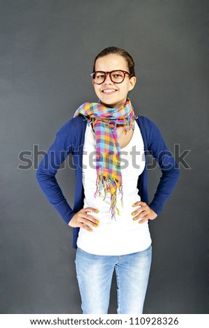 Teenager girl with glasses