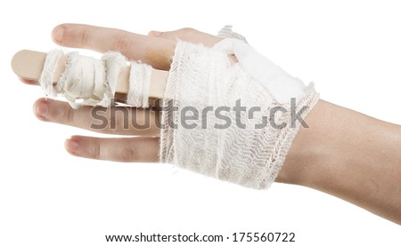 Teenager hand wrapped with bandage isolated on white background