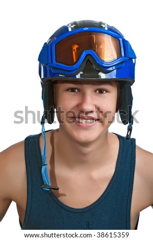 Teenager happy to be out on the slopes on a warm sunny day. - stock photo