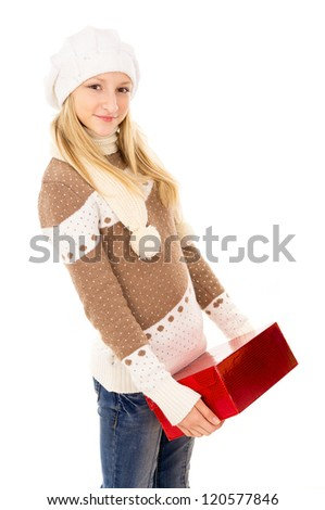 Teenager holding a gift - stock photo