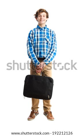teenager holding a suitcase
