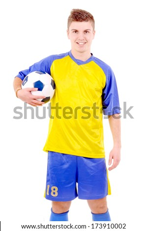 teenager holding soccer ball isolated in white - stock photo