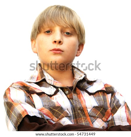 Teenager portrait isolated on the white - stock photo