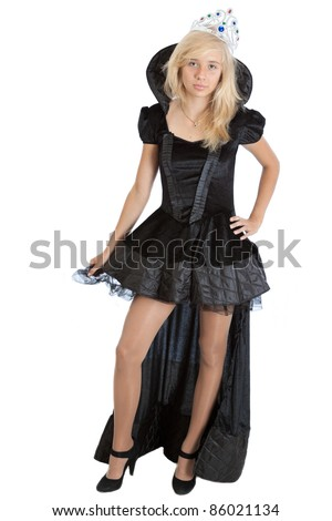 teenager princess girl in long black velvet dress and crown