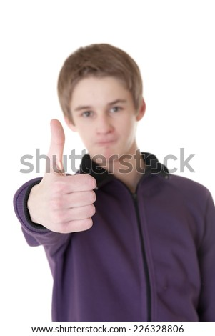 Teenager shows gesture ok, isolated on white - stock photo