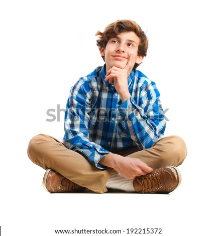 teenager sitting thinking. isolated - stock photo