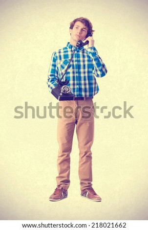 teenager talking on phone - stock photo