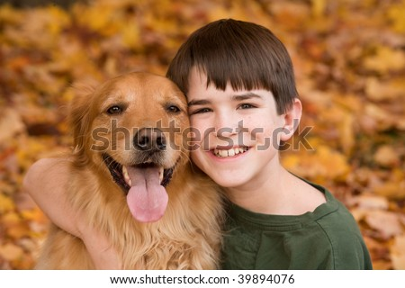 Teenager with Golden Retriever