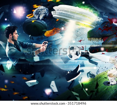 Teenager with joystick play with video game - stock photo