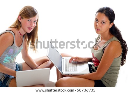 teenager  with notebook - stock photo