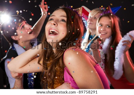 Teenagers celebrate the new year - stock photo