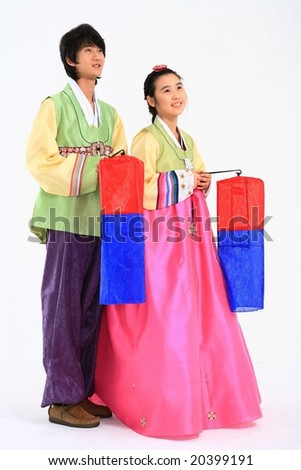 Teenagers in Traditional Korean Dress