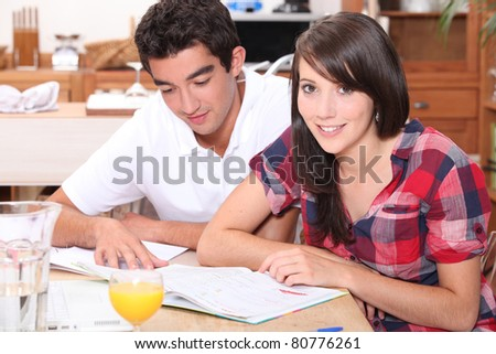 Teenagers studying - stock photo